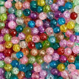 50 Crackle Glass Beads 8mm Assorted Lot Mixed Colors Bulk Je