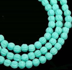 50 Czech Glass Melon Round Beads 3mm - Metallic Suede - Blue