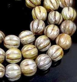 50 Czech Glass Melon Round Beads 5mm - Luster Iris - Atlanti