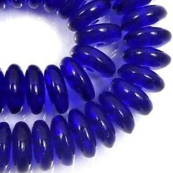 50 Czech Glass Rondelle Beads - Cobalt Blue 6x2mm