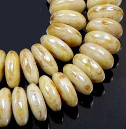 50 Czech Glass Rondelle Beads - Opaque Luster - Picasso 6x2m