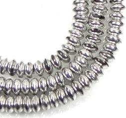 50 Czech Glass Rondelle Beads - Silver 4x2mm