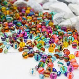 50 Dichroic Glass Beads 8mm Assorted Lot Mixed Colors Bulk J