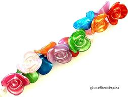 50 Flowers Assorted Pearl Color 15mm Acrylic Rose Flower But