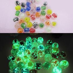 50 Glow In The Dark Beads Glass Luminous Round Lampwork 8mm