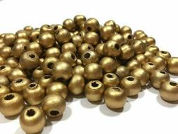 50 Gold Wood Beads Metallic 10mm Round Bulk Lot Jewelry Maki