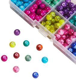 50 Graffiti Glass Beads 8mm Assorted Lot Mixed Bulk Jewelry