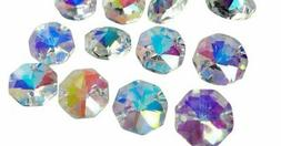 50 Iridescent AB Octagon Chandelier Crystal Beads Octagons