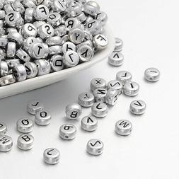 50 Letter Beads Alphabet Beads Silver Bulk Beads Wholesale 7