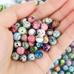 50 Marble Acrylic Beads 8mm Assorted Lot Mixed Striped Bulk