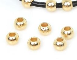 50 Piece Lot 18k Gold 6mm Beads - Spacers For Bracelets Bang