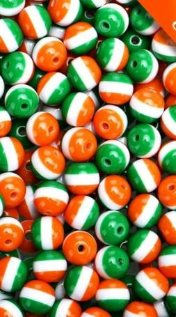50 Striped Beads St Patrick's Day 8mm Acrylic Wholesale Bulk