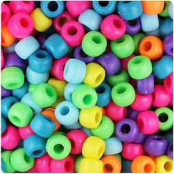500 Bright Mix Matte 9x6mm Barrel Pony Beads Made in the USA
