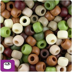 500 Camouflage Mix Matte 9x6mm Barrel Pony Beads Made in the