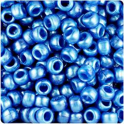 500 Dark Blue Pearl 9x6mm Barrel Pony Beads Made in the USA