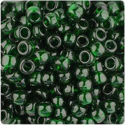 500 Dark Green Transparent 9x6mm Barrel Pony Beads Made inth