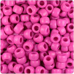 500 Dark  Pink Opaque 9x6mm Barrel Pony Beads USA Made by Th