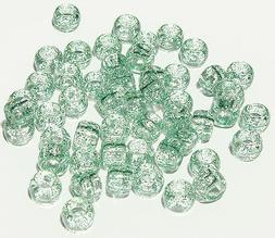 500 Green Glitter Sparkle 9x6mm Pony Beads for crafts hair k