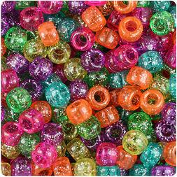 500 Jelly Mix Sparkle 9x6mm Barrel Pony Beads Made in the US