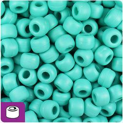 500 Light Turquoise Matte 9x6mm Barrel Pony Beads Made in th