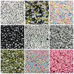 500 Pcs 7mm Random Mix 7mm Round Alphabet Letter Beads Kids