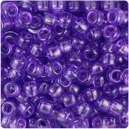 500 Purple Transparent 9x6mm Barrel Pony Beads Made in the U