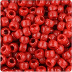 500 Red Opaque 9x6mm Barrel Pony Beads USA Made by The Beade