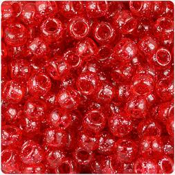 500 Ruby Red Sparkle 9x6mm Barrel Pony Beads Made in the USA