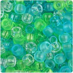 500 Sea Glass Mix Transparent 9x6mm Barrel Pony Beads Made i