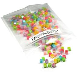 500 Small 4mm Square Plastic Acrylic Cube Beads in Assorted