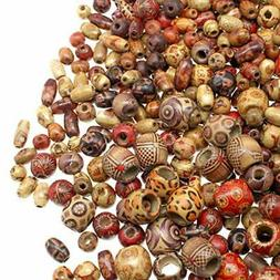 500 Wooden Beads for Jewelry Making Adults, Painted Assorted