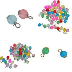 50Pack Charms Glass Beads Pendant for Dangle Earring Bracele