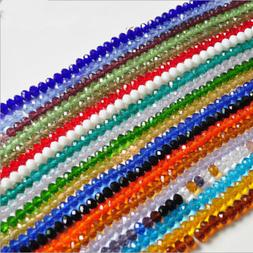 New 3mm/4mm/6mm/8mm/10mm Rondelle Faceted Crystal Glass Spac