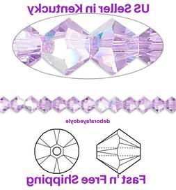 50pcs 4mm Swarovski Violet AB Bicone Crystal beads for Jewel