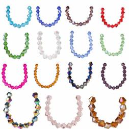 50pcs 6mm Charms Bicone Faceted Crystal Glass Loose Spacer B
