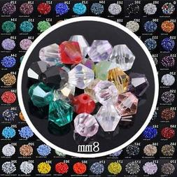 50pcs 8mm Bicone Faceted Crystal Glass Loose Beads Lot for D