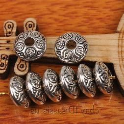 50pcs 9mm Oval Tibet silver Beads Spacer DIY Jewery Making F
