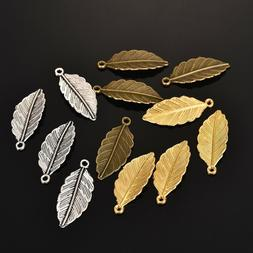 50Pcs Alloy Leaf Pendants Charms Beads DIY Jewelry Making Cr