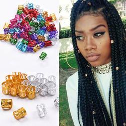 50pcs New Braid Hair Beads 8mm Hole Dreadlocks Beads Rings F