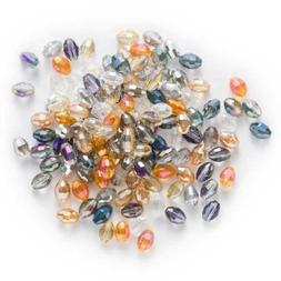 50pcs Oval Faceted Crystal Glass loose spacer Beads Jewelry
