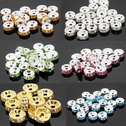 50Pcs Quality Crystal Rhinestone Silver Plated Rondelle Spac
