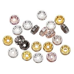 50pcs Rhinestone Rondelles Crystal Loose Spacer Beads for DI