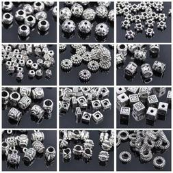 50pcs Tibetan Silver Metal Loose Spacer Craft Beads lot Whol