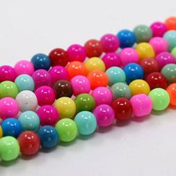 55 Rainbow Glass Beads 8mm Assorted BULK Beads Wholesale Jew