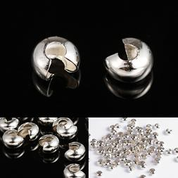 5mm Silver Plated Crimp Covers Findings Protectors Beads Bea
