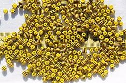 6/0  Vintage Czech Seed Beads Yellow w/Brown Stripes Crafts