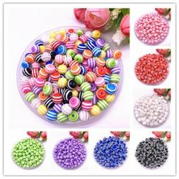6-12mm Round Resin Beads Stripe Spacer Beads for Jewelry Mak