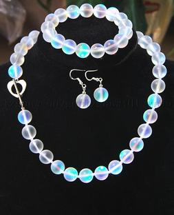 6-12mm White Gleamy Rainbow Moonstone Round Beads Necklace B