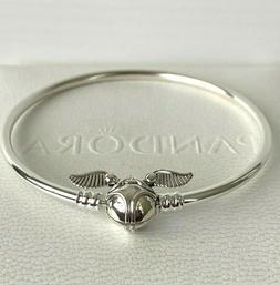 """6.7"""" PANDORA Harry Potter Golden Snitch Clasp Bangle Bracele"""