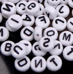 6-7mm White  Black Acrylic Disc Flat Round Letter Alphabet B